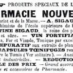 Publicité pour la pharmacie Sigaud, d'Aix (1895).