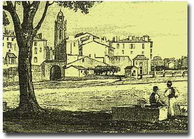 """""""Vue de l'entrée du Cours"""" (détail), par Nicolas Chapuy (1790-1858). Musée Paul Arbaud, Aix. On distingue nettement la porte des Augustins sur la gauche de l'image."""