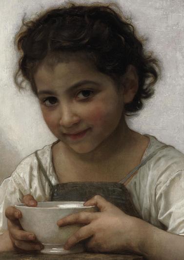 William-Adolphe Bouguereau, La soupe au lait, détail, 1880.
