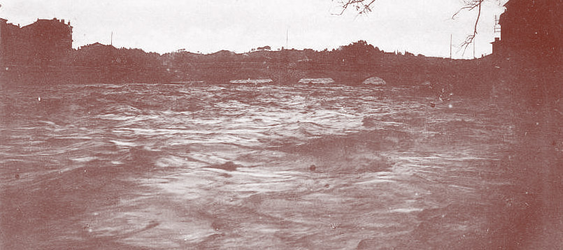 Exemple d'inondations dans le Gard. Ici Alès, 1907. DR.
