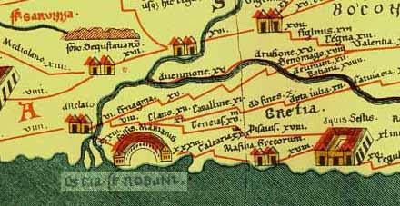 Détail de la table de Peutinger (Tabula Peutingeriana), v. 250. On voit, au centre de l'image, l'inscription « Tericias », indiquant l'emplacement de l'antique Mouriès. Notez Arles, Fos, Marseille, Aix, d'ouest en est.