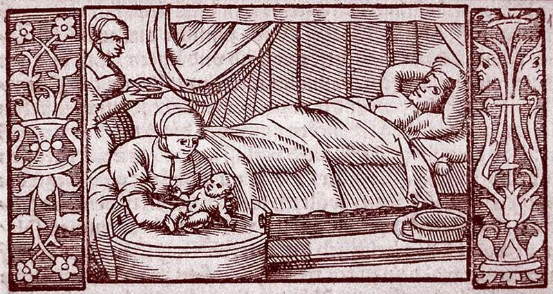 Le bain du nouveau-né, Bibliothèque nationale et universitaire de Strasbourg, 1554.