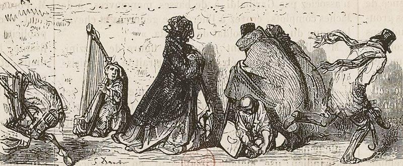 Le froid à Paris, estampe, Gustave Doré, 1864. Bibliothèque nationale de France.