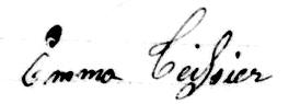 Signature d'Emma Teissier à son mariage. DR.