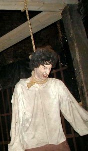 Pendu, personnage en cire.  Tour de Londres.  © Helga, 2005, Creative Commons  Attribution ShareAlike 3.0.