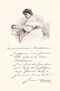 Gravure représentant  Jane Hading vers 1896,  ainsi que son écriture  et sa signature. Coll. pers. Jean Marie Desbois.