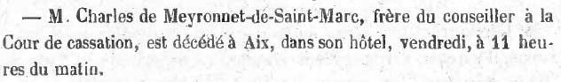 Le Mémorial d'Aix annonce, le 31août1851, la mort du maire de Saint-Marc deux jours plus tôt.
