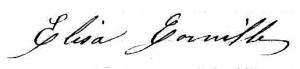 Signature d'Élisa Cornille, épouse Quenin.