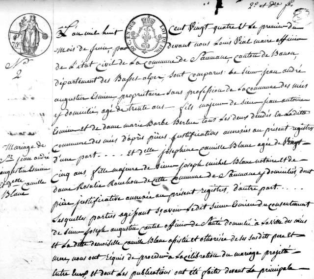 Début d'un acte de mariage de 1824 Cliquez sur l'image pour l'agrandir.