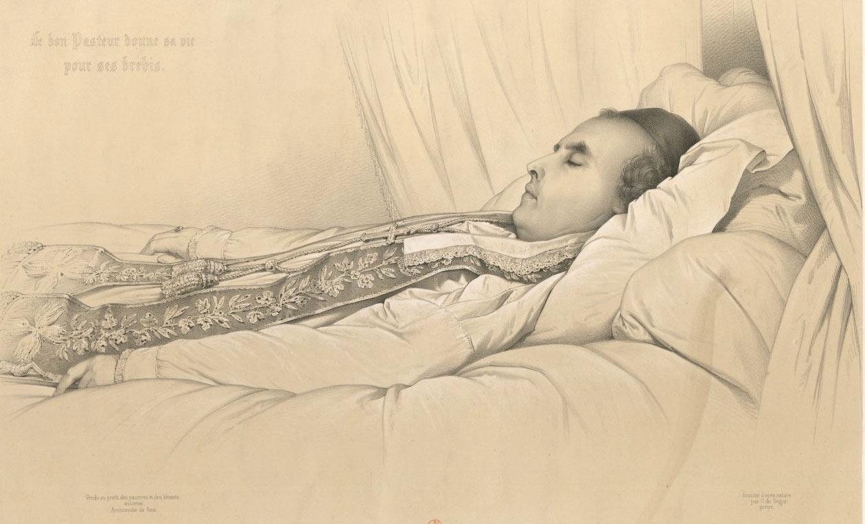 Monseigneur Denys Auguste Affre. Archevêque de Paris, 27 Juin 1848 : [estampe] par Maurin, A.. Lithographe. BnF.