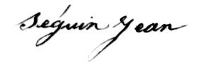 Signature de Jean Seguin (1857).
