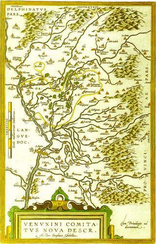 Carte du Comtat Venaissin par Stephano Ghebellino (vers 1580) Médiathèque Ceccano d'Avignon.
