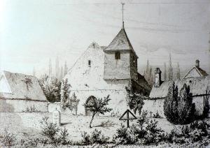 Une église et son cimetière (gravure de Claude Sauvageot)