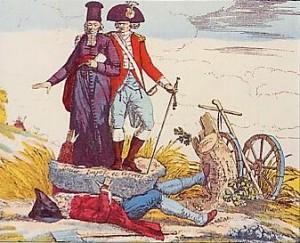 Le Tiers-États écrasé par les charges que font peser sur lui le clergé et la noblesse.
