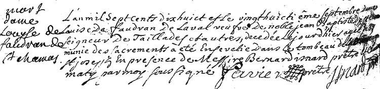 Acte de décès de Louise de Faudran de Saint-Chamas en date du 28septembre1718–Registres paroissiaux de Lambesc.