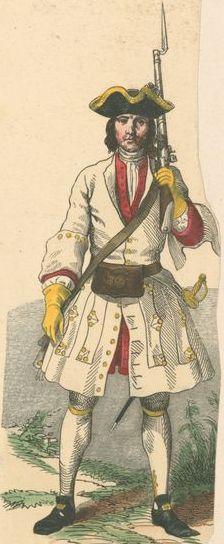 Soldat du régiment de Picardie (1710).
