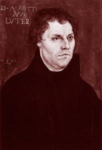 Martin Luther en 1526. Portrait peint par Lucas Cranach l'Ancien. Coll. part. Hambourg.