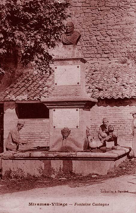 Fontaine et monument Castagne à Miramas-Village.Coll. part. Sébastien Avy.
