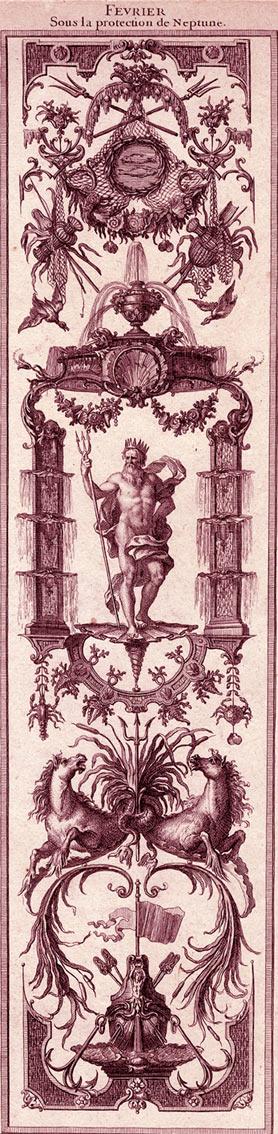 """Claude Audran (1658-1734), """"Février sous la protection de Neptune"""", extrait de Mois grotesques, Universitätsbibliothek Salzbourg."""