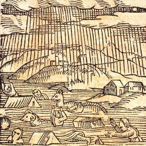 'Gross Gewaesser'. Inondations en été 1480, de la plaine du Rhin, entre Bâle et Strasbourg (TR). Bibliothèque nationale et universitaire de Strasbourg, NIM32729.
