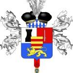 Armes du baron Avy, Coupé : au 1, parti d'argent, à la tour de sable et du quartier des Barons militaires de l'Empire ; au 2, d'azur, au lion léopardé d'or. Sur le tout fascé d'or et de gueules. (dessin S. Avy)
