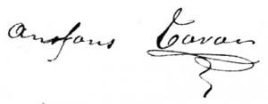 "Signature d'Alphonse Tavan (""Anfons Tavan"" en provençal)."