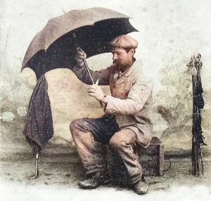 Le raccomodeur de parapluies. Couleur : GénéProvence.