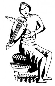 Musicien du XIIIe siècle visible sur le sceau de Bertrand, comte de Forcalquier.  © A. Dumont-Castells.