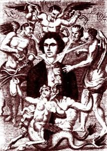 Portrait imaginaire du XIXe siècle, par H. Biberstein.Sade soumis aux quatre vents des suggestions diaboliques.