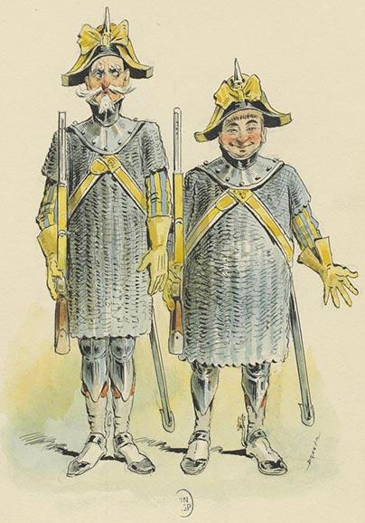Geneviève de Brabant, opéra-bouffe de Jacques Offenbach,  Les gendarmes Grabuge et Pitou, dessin de Draner (1833-1926), 1867,  Bibliothèque nationale de France.