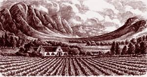 Domaine de L'Ormarins, au pied des montagnes Groot Drakenstein à Franschhoek. Gravure de Ricardo Uztarroz (XVIIIe siècle).
