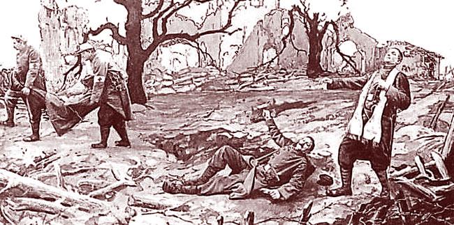 """""""Prêtre-soldat blessé en accomplissant son ministère"""". DR."""