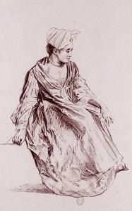 Antoine Watteau, Jeune femme assise, vue de trois-quarts, tournée vers la droite, 1726, Bibl. nat. de France.
