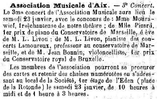 Extrait du Mémorial d'Aix, 17 janvier 1897.