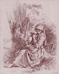 F. Boucher (1703-1770), Paysanne à la cruche, estampe, Bibl. nat. de France.