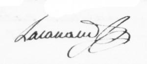 Signature d'Honoré-Grégoire Lacanaud. DR.