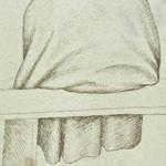 Homme, vu de dos, vêtu d'une pèlerine à capuchon, assis sur un banc, Codex Vallardi, Pisanello, XVe, musée du Louvre, Paris.