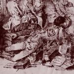 Victime du choléra-morbus, détail de Le ministère attaqué du cholera morbus, par Grandville, s.d., DR.
