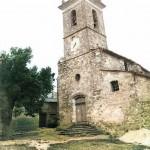 L'église de Revest-des-Brousses. Image colorisée. DR.